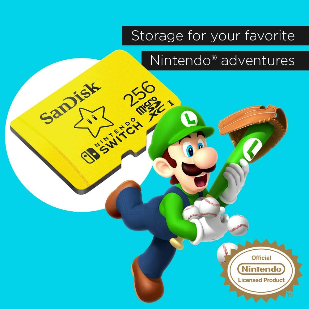 SanDisk 256GB MicroSDXC UHS-I Memory Card for Nintendo Switch - SDSQXAO-256G-GNCZN