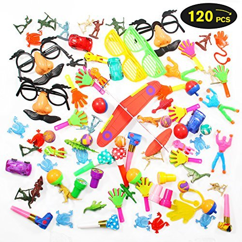 Geekper Party Favors, Bulk Toys 120 Pack Toy Assortment Goodie Bags for Kids Rewards Carnival Prizes Birthday Party Accessories by Geekper