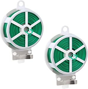 Hovico Garden Plant Twist Tie Reel, 328ft (100m) Twist Ties,Green Coated Garden Plant Ties with Cutter for Plants Decoration Garden Support Office Cable Organizing Home Use