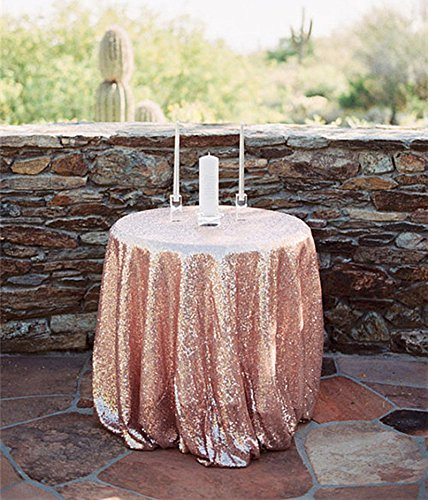 SoarDream Rose Gold Sequin Tablecloth 72 inch Round Glitter Table Overlays for Wedding Party Sequin - Gold Rose Overlay
