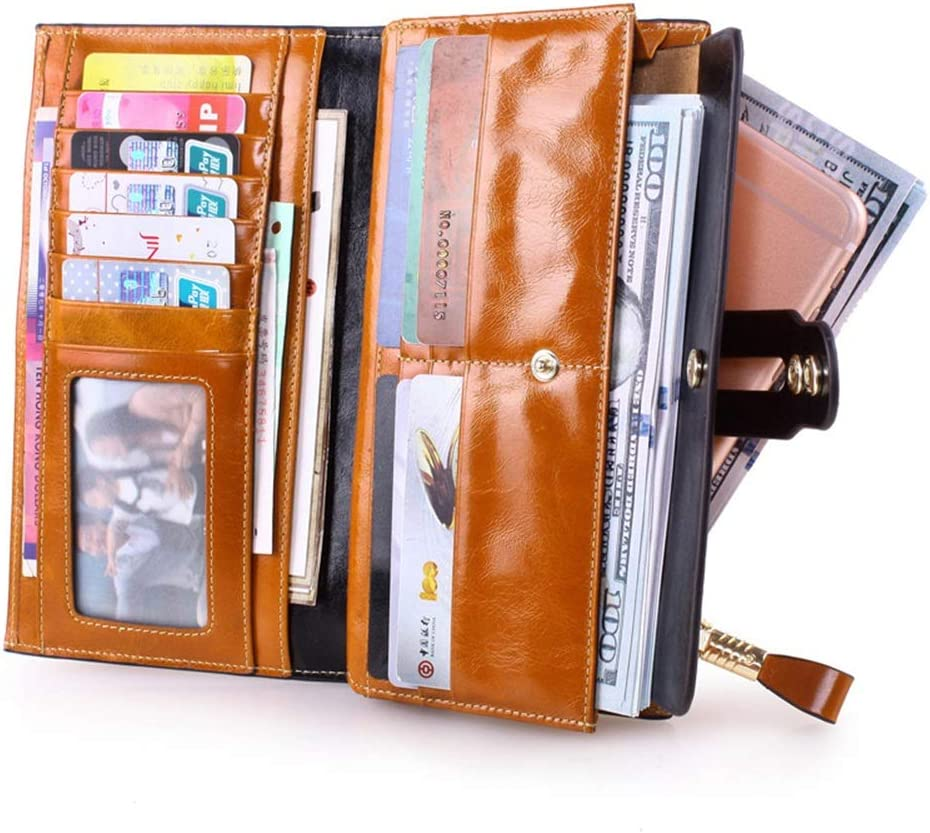 Womens RFID Blocking Leather Zipper Around Wallet Clutch Large Travel Purse Wristlet Bag Phone Bag Card Package