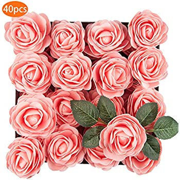 TOPHOUSE 40pcs Artificial Flowers Roses Real Touch Fake Roses for DIY Wedding Bouquets Bridal Shower Party Home Decorations (Pink)