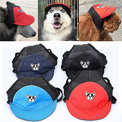 Glumes Dog Hats/Cap Pet Dog Sports Hat Pet Dog Oxford Fabric Hat Sports Baseball Cap with Ear Holes for Small Dogs]()