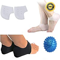 Aptoco Comprehensive Plantar Fasciitis Kit Total 5 Pieces.A Pair of Plantar Fasciitis Therapy Wrap, A Pair of Silicone Gel Sleeve and Foot Massage Ball