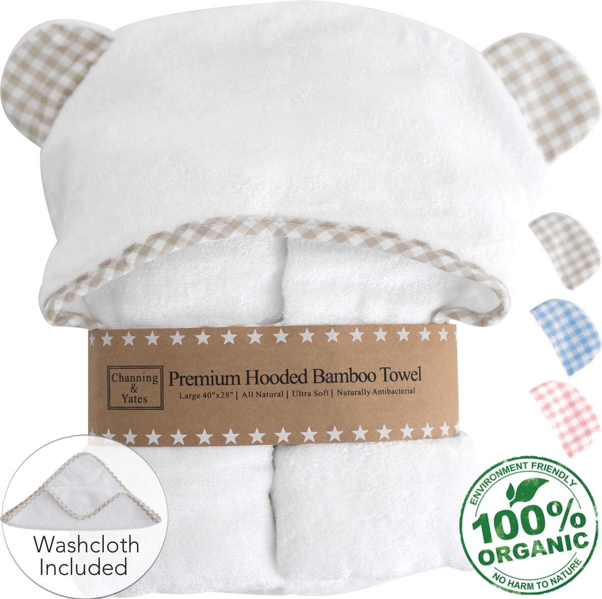 Premium Baby Towel with Hood and Washcloth Gift Set - Organic Baby Towels and Washcloths - Bamboo Hooded Towels for Baby - Hypoallergenic Large Toddler Towels for Boys or Girls (Beige/White) by Channing & Yates