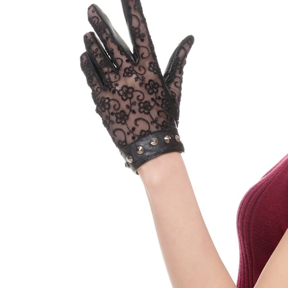 Nappaglo Women's Nappa Leather & Lace Unlined Gloves Rivet Decoration Summer Short for Driving Prom Banquet Party Sunscreen (X-Large, Black)
