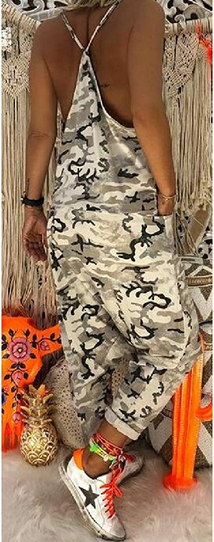 SHOWNO Womens Jumpsuits Baggy Camouflage Spaghetti Strap Jumpsuit Romper with Pockets