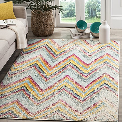 - Safavieh Monaco Collection MNC220F Modern Chevron Stripe Multicolored Distressed Area Rug (5'1