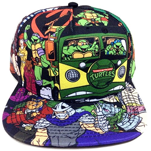 Teenage Mutant Ninja Turtles All Over Print Cartoon Snapback Black