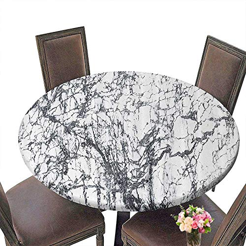 (PINAFORE Round Table Tablecloth Ap Ment by Murky Marble Rock Motifs with Dynamic Fractal FiguresAbstract sy for Wedding Restaurant Party 43.5