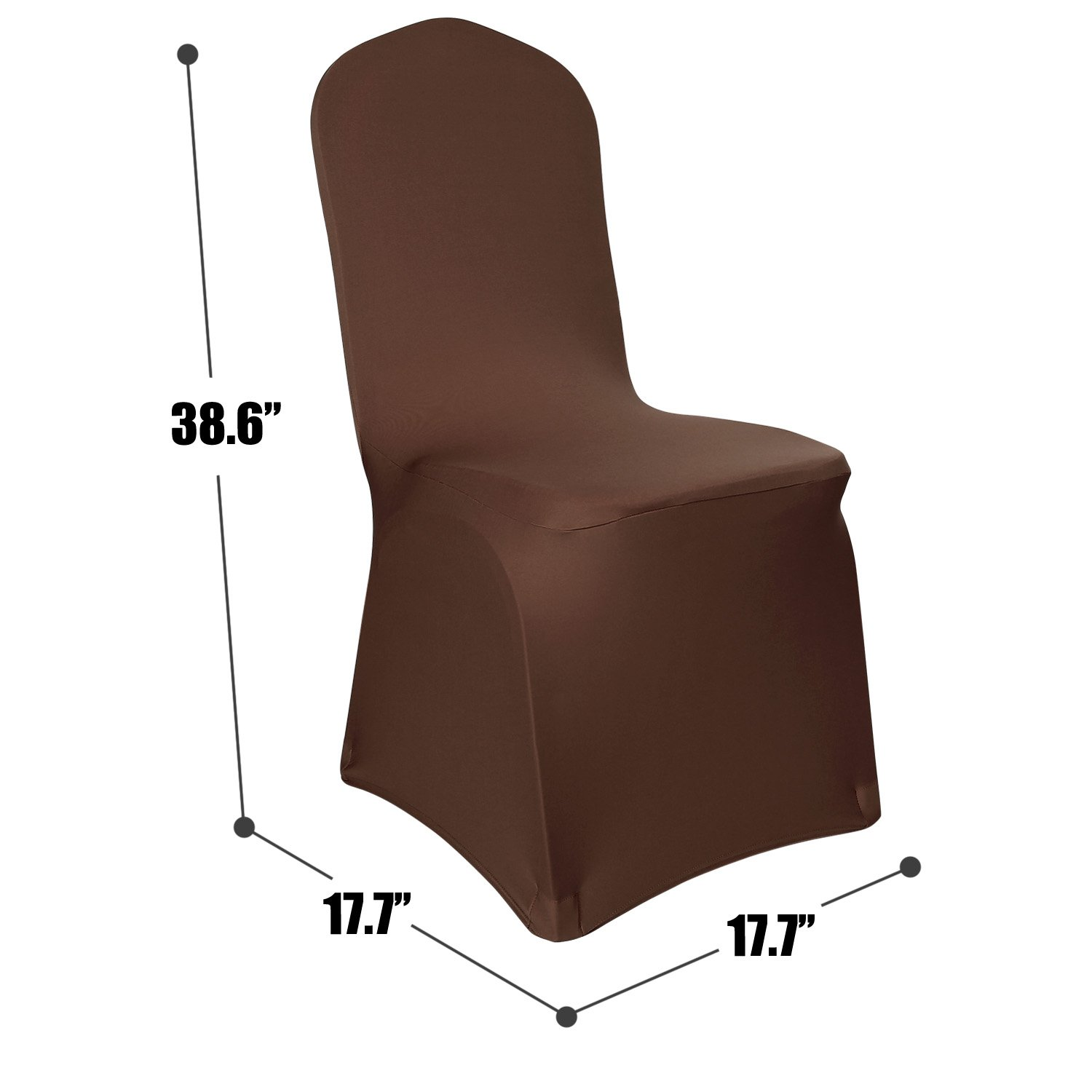 Deconovo Set of 4pcs Brown Color Stretch Chair Covers Spandex Dining Chair Cover for Wedding Banquet Party by Deconovo (Image #3)