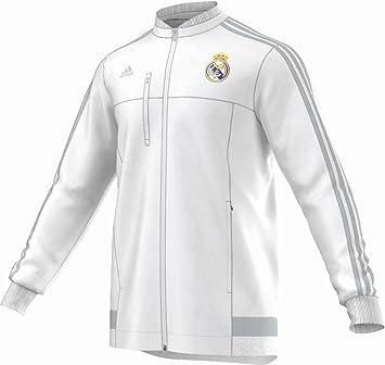 adidas Chaqueta Real Madrid Himno (Blanco) 2015-16, Hombre, Color Blanco - Blanco, tamaño Large: Amazon.es: Deportes y aire libre