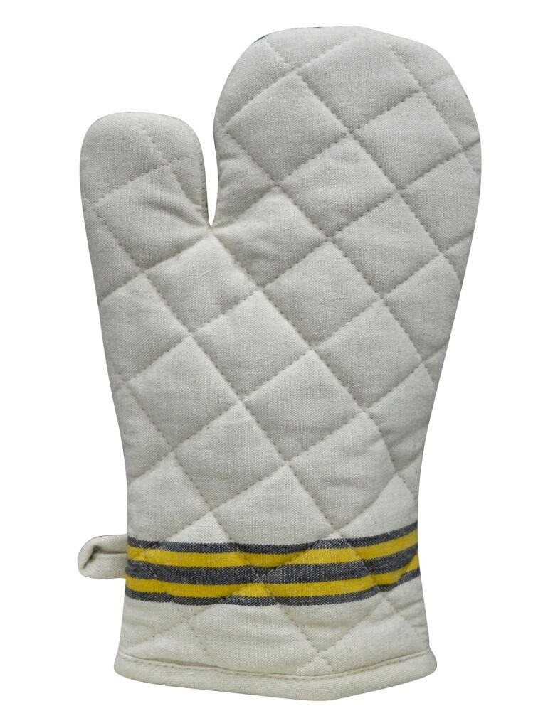 Maxican 100% Cotton, single oven Mitt - 8'' x 12'', Heat Resistant, Machine Washable, Superior Protection & Comfort – Elegant Design for Everyday Kitchen Basic - Beige