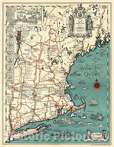 Historic Map | Map of New England : Presented by John Hancock Mutual Life Insurance Company, 1928, | Vintage Wall Art | 24in x 30in