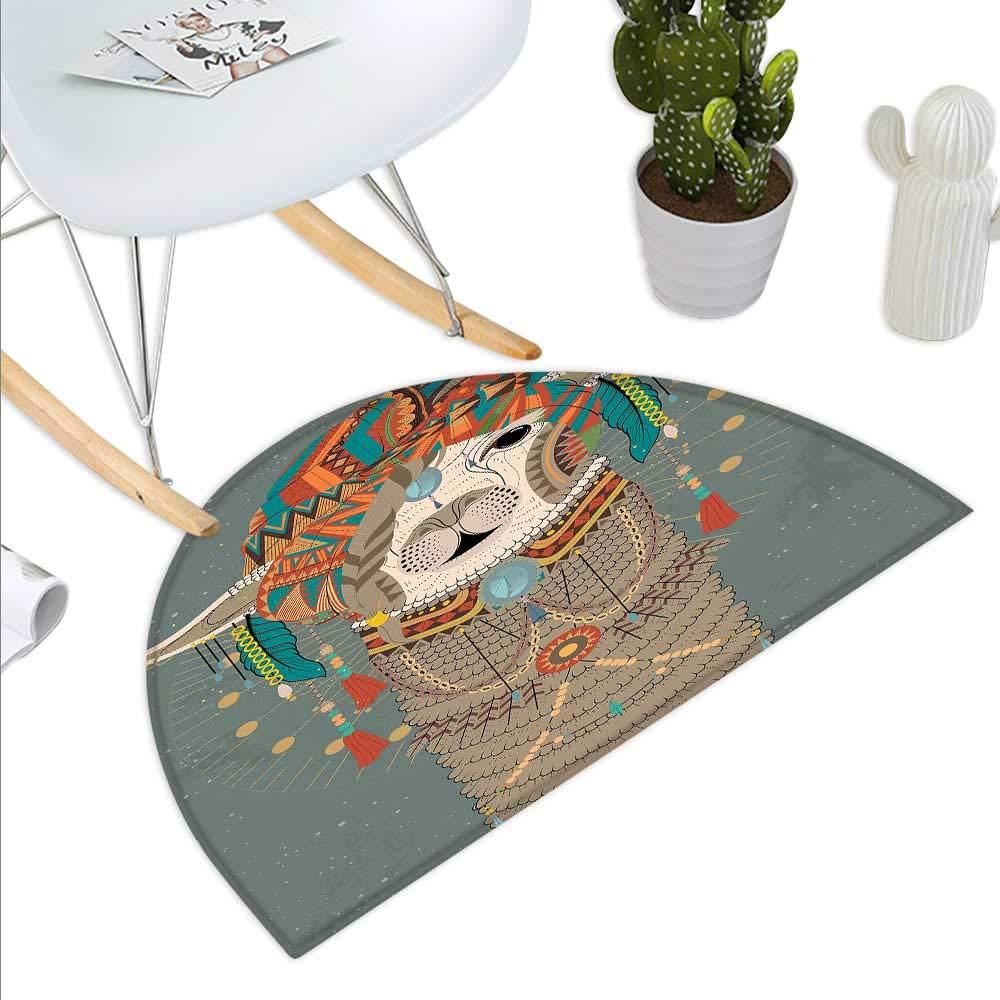 color10 H 15.7  xD 23.6  Llama Semicircle Doormat Cute Llamas with Tribal Aztec Native American Style Primitive Kids Playroom Theme Halfmoon doormats H 27.5  xD 41.3  Multicolor