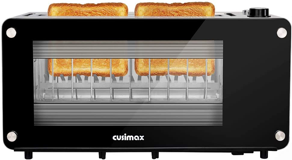 Toaster 2 Slice, CUSIMAX Long Slot Toaster with Glass Window Bagel Toasters, Artisan Bread Toaster Stainless Steel Wide Slot with Automatic Lifting, Slide-out Glass Panel and Removable Crumb Tray