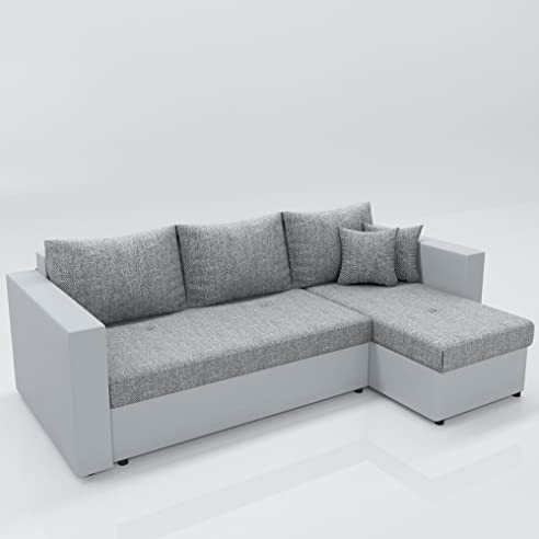 Eckcouch grau weiß  Ecksofa mit Schlaffunktion Grau Weiß - Stellmaß: 224 x 144 cm ...