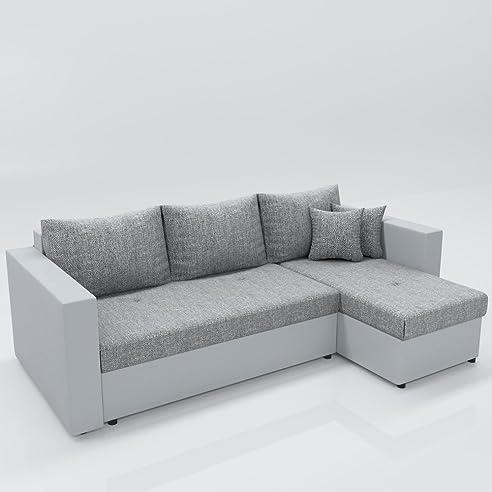 Ecksofa hellgrau weiß  Ecksofa mit Schlaffunktion Grau Weiß - Stellmaß: 224 x 144 cm ...