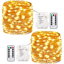 GDEALER 2 Pack 20 Feet 60 Led Fairy Lights Battery Operated with Remote Control Timer Waterproof Copper Wire Twinkle String Lights for Bedroom Indoor Outdoor Wedding Dorm Decor Warm White