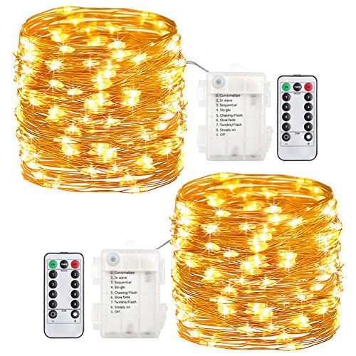 GDEALER 2 Pack Fairy Lights Fairy String Lights Battery Operated Waterproof 8 Modes 60 LED 20ft String Lights Copper Wire Firefly Lights Remote Control Christmas Decor Christmas Lights Warm White Light Fire Battery