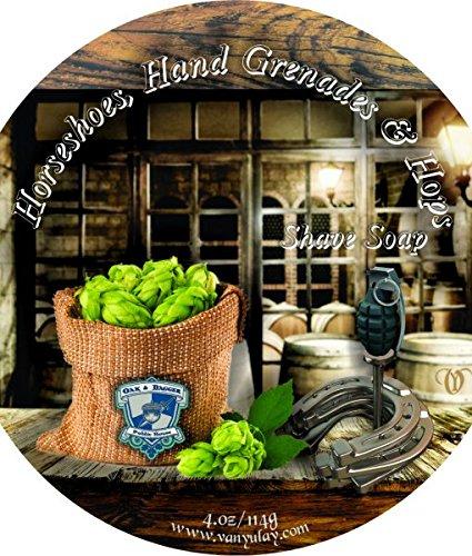 Horseshoe, Hand Grenades & Hops - All Natural Shaving Soap. Nourishing and Moisturizing for Men and Women