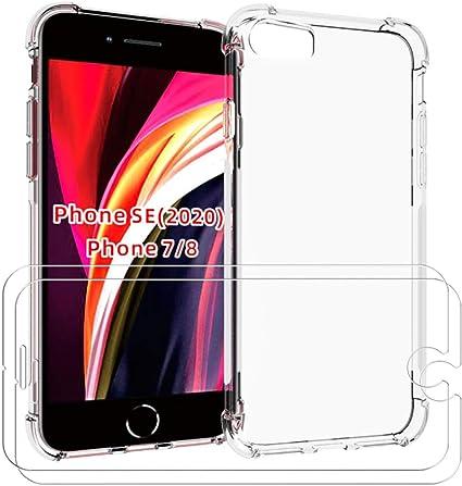 Lifeacc per Cover iPhone SE 2020, Cover iPhone 8/7 Pellicola Protettiva in Vetro Temperato [2 Packs], Nuovo Arrivo Air Cushion Shockproof Morbida ...