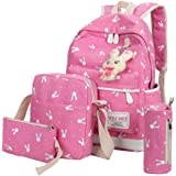 School Bags, SHOBDW 4 Sets Girls Cute Rabbit Animals Travel Backpack Shoulder Handbag (1 Set, Hot Pink)