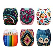 Babygoal Baby Cloth Diapers, One Size Reusable Washable Pocket Nappy, 6pcs Cloth Diapers + 6 Microfiber Inserts+One Wet Bag ,Girl color 6FG24
