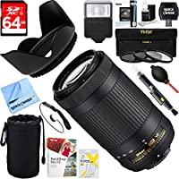 Nikon AF-P DX NIKKOR 70-300mm f/4.5-6.3G ED VR Lens (20062) + 64GB Ultimate Filter & Flash Photography Bundle