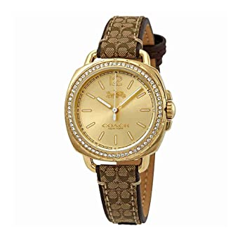 ebe2265f4 Amazon.com: Coach Women's 14502770 Tatum Signature Fabric Leather Gold Tone  Glitz Watch: Watches