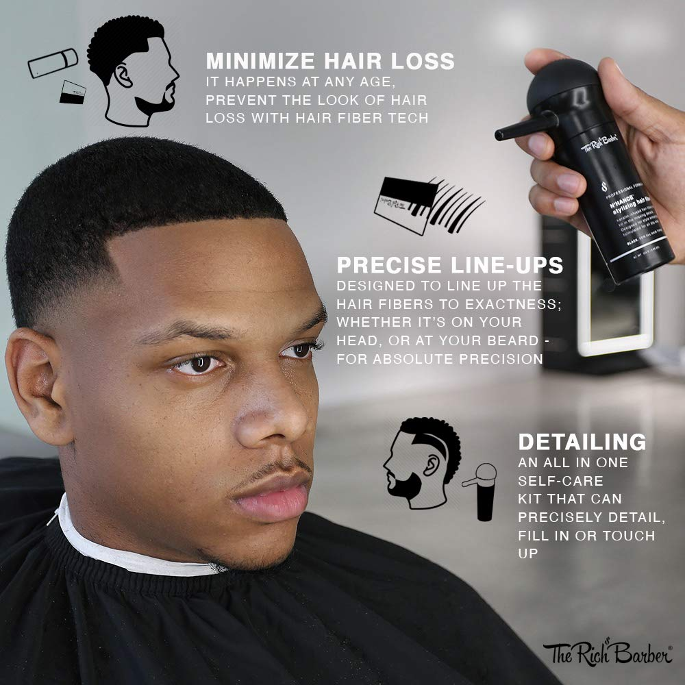 Amazon Com The Rich Barber N Hance Hair Fibers Applicator Card Set Natural Concealing Hair Thickening Fibers Long Lasting Spray With Accessory For Crisp Hairlines A Thicker Beard Styling Black