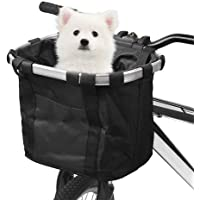 Lixada Bike Basket, Small Pet Cat Dog Carrier Bicycle Handlebar Front Basket - Folding Detachable Removable Easy Install…