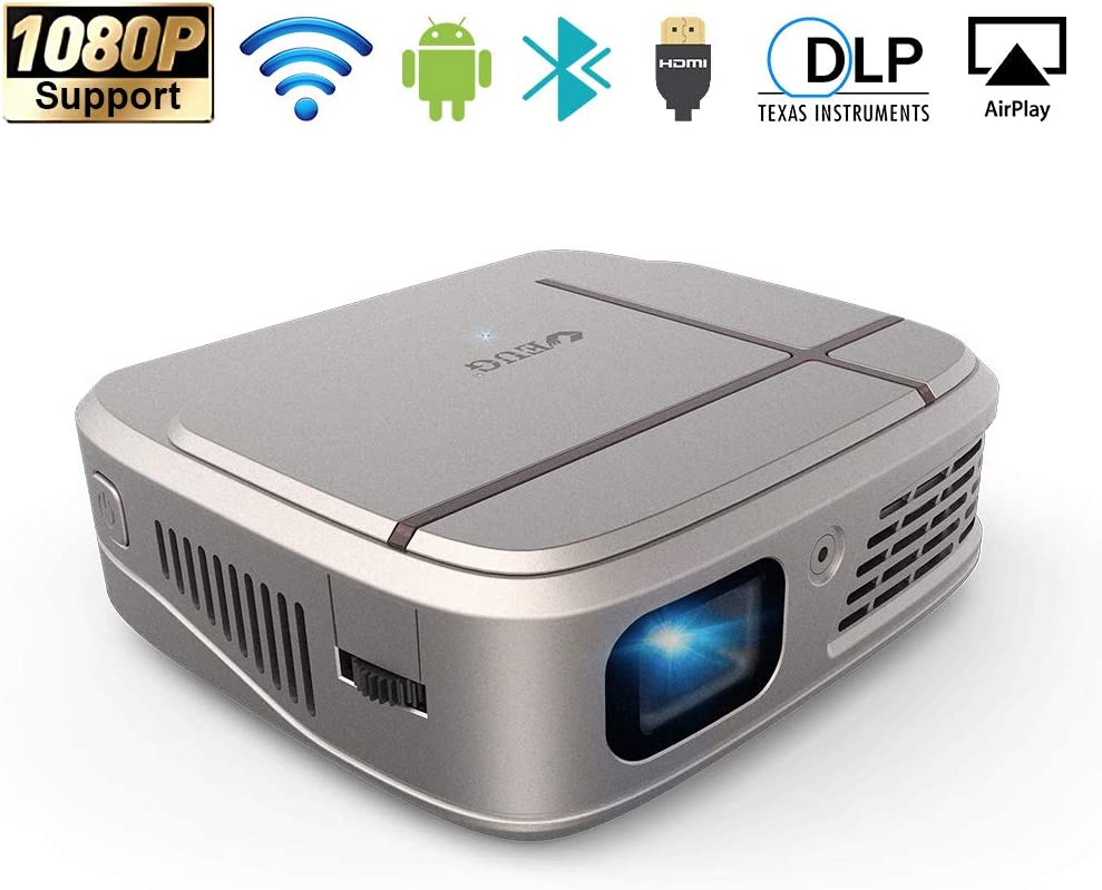 Mini DLP Projector, WiFi Projector with Bluetooth, 3300 Lumen Support HD 1080P Projector with HDMI, Auto Keystone, Built-in Speaker, Compatible with TV Stick, iPhone, PS4, DVD for Home Theater