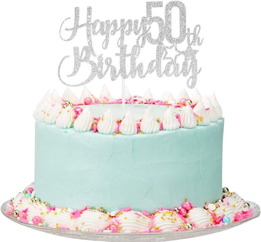 Amazon Com Silver Glitter Happy 50th Birthday Cake Topper 50th Birthday Cake Topper 50th Birthday Party Decoration Toys Games