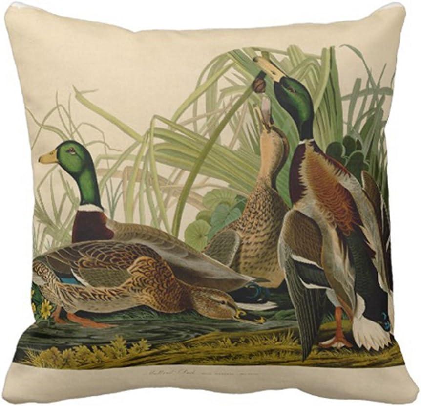 SPXUBZ Audubon Mallard Duck Bird Vintage Print Pillow Cover Decorative Home Decor Nice Gift Square Indoor/Outdoor Pillowcase Size: 18x18 Inch(Two Sides)
