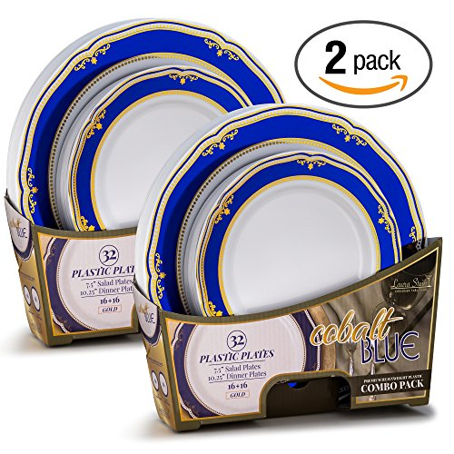 Laura Stein Designer Tableware Set of 64 White Party Plates With Blue & Gold Border/Rim Cobalt Blue Series Includes 32 -7.5'' Plates & 32 - 10.75'' Plates Heavy Duty Plastic Disposable Dishes Combo