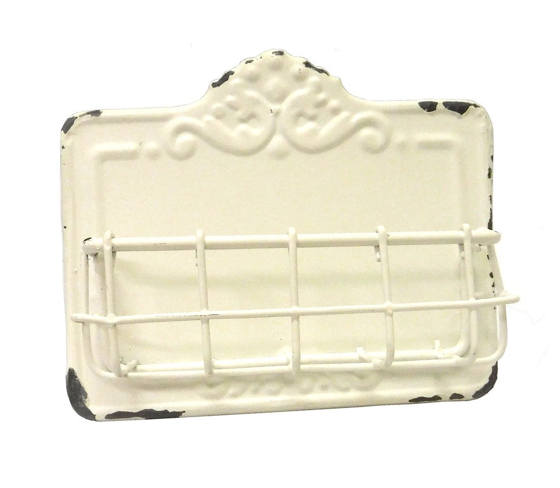 Vintage Style Antique White Business Card Holder
