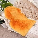 Genuine Australian Sheepskin Rug for Babies-Singel Natural Luxuriously Soft Shorn Lambskin Wool,28x43in.Orange