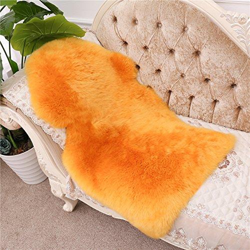 Genuine Australian Sheepskin Rug for Babies-Singel Natural Luxuriously Soft Shorn Lambskin Wool,28x43in.Orange by Meng Ge