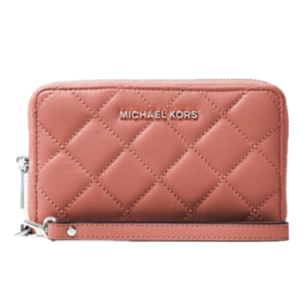 Michael Kors 32t6ttve9t jet set travel large quilted-leather smartphone wristlet