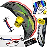 Prism Tensor 5.0 Power Foil Kite 3-Line Control Bar CX Kite Bundle: (5 Items) Includes 2ND Control Bar Kite : CX 1.5M Foil Control Bar Trainer Kite + WindBone Kiteboarding Lifestyle Decals + WindBone Kitesurfing Key Chain + WB Kiteboarding Koozy Cooler : Land Snow Traction Trainer Foil Power Kite