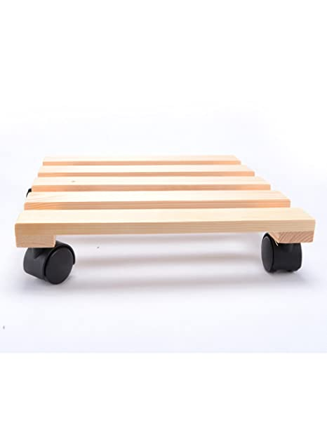 LB Bandeja móvil de madera Soporte de flor de madera maciza Soporte Base Puede mover la