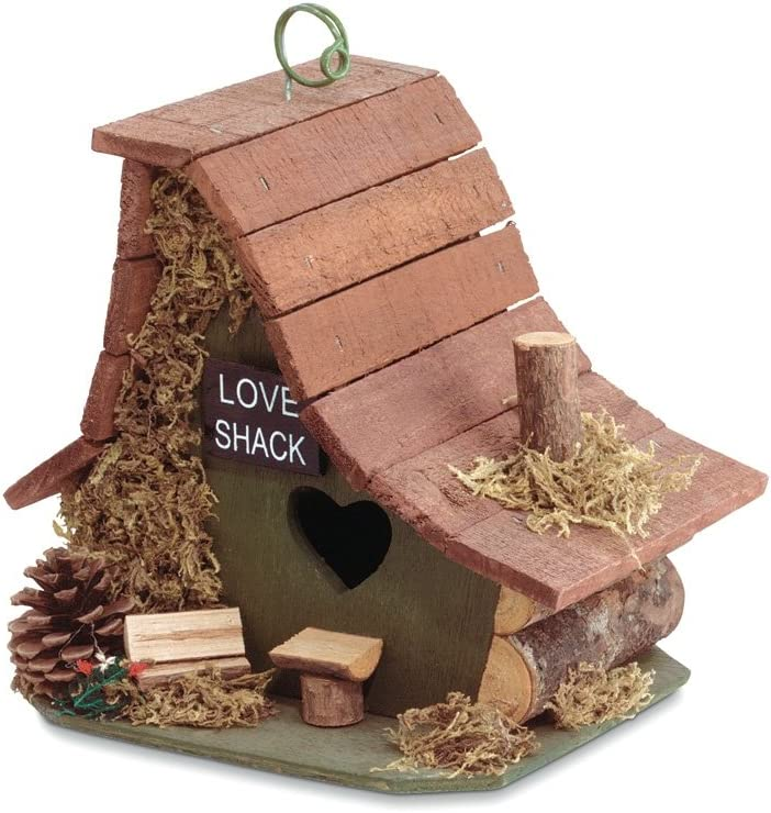 Gifts & Decor Wood Love Shack Bird House with Heart Shaped Door