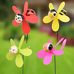 FENELY Bee Wind Spinners Pinwheels Whirlygigs Garden Stakes Decorations Outdoor Lawn Decorative Yard Decor Patio Accessories Windmills Ornaments