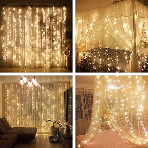 YULIANG Led Curtain Lights 300led 3m3m/9.8Ft9.8Ft Christmas Curtain String Fairy Lights for Home, Garden, Kitchen, Outdoor Wall, Party, Wedding, Window Decorations 110v Us (Vertical Fashion)