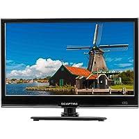 """Sceptre E165BV-SS Slim 16"""" 720p LED HDTV HDMI USB VGA, DC 12V Car Adapter Included, Fine Black (2017)"""