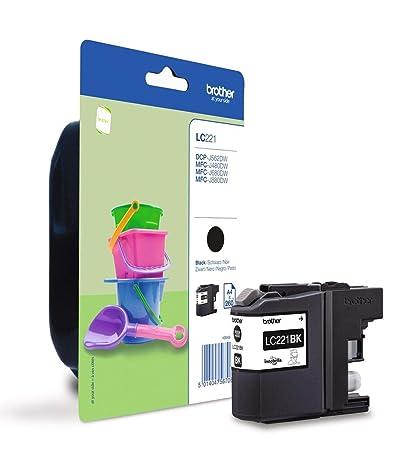 Brother LC221BKBP Cartucho de tinta negro original para las impresoras DCPJ562DW, MFCJ480DW y MFCJ880DW, duración estimada hasta 260 páginas (según ...