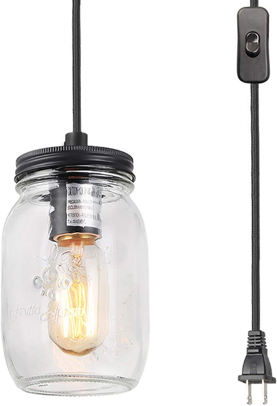 LNC Hanging Lamp with Plug in Cord Glass Mason Jar Swag Light A03219