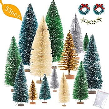 Nilos 53 PCS Artificial Mini Christmas Trees Set, Bottle Brush Trees with Wood Base Tabletop Sisal Trees for Winter Crafts Christmas Themed Decor 5 Colors and 7 Sizes