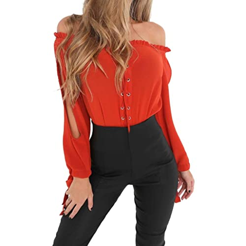 SHOBDW Hombro de Blusas de mujeres de otoño atractivas del impresión de la camiseta de manga larga d...